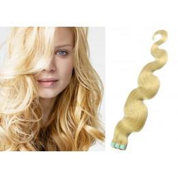 60cm Tape vlasy / Tape IN vlnité - nejsvětlejší blond