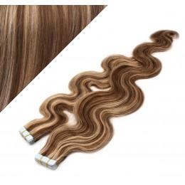 60cm Tape vlasy / Tape IN vlnité - tmavý melír