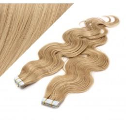 60cm Tape vlasy / Tape IN vlnité - přírodní / světlejší blond