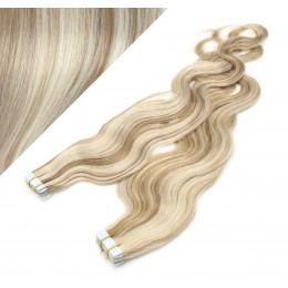 60cm Tape vlasy / Tape IN vlnité - platina / světle hnědá