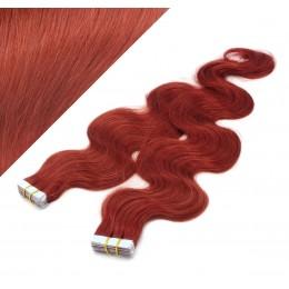 60cm Tape vlasy / Tape IN vlnité - měděná