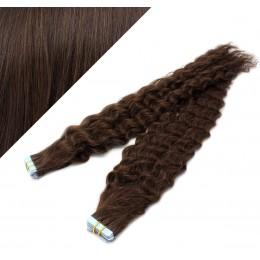 60cm Tape vlasy / Tape IN kudrnaté - tmavě hnědé