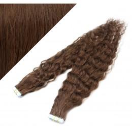 60cm Tape vlasy / Tape IN kudrnaté - středně hnědé