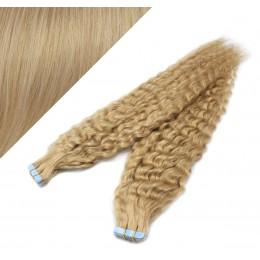 60cm Tape vlasy / Tape IN kudrnaté - přírodní blond