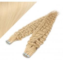 60cm Tape vlasy / Tape IN kudrnaté - nejsvětlejší blond