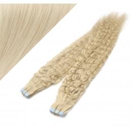 60cm Tape vlasy / Tape IN kudrnaté - platina