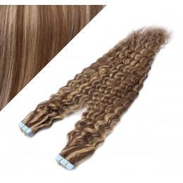 60cm Tape vlasy / Tape IN kudrnaté - tmavý melír