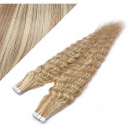 60cm Tape vlasy / Tape IN kudrnaté - světlý melír