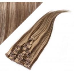 70cm clip in lidské REMY vlasy evropského typu - tmavý melír
