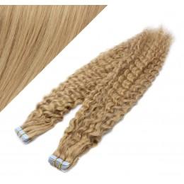 60cm Tape vlasy / Tape IN kudrnaté - přírodní / světlejší blond