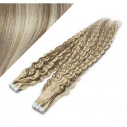 60cm Tape vlasy / Tape IN kudrnaté - platina / světle hnědá