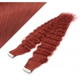 60cm Tape vlasy / Tape IN kudrnaté - měděná