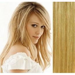 40cm clip in REMY vlasy evropského typu 100g - přírodní/světlejší blond