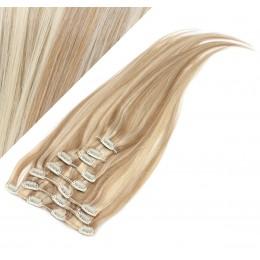70cm clip in lidské REMY vlasy evropského typu - světlý melír
