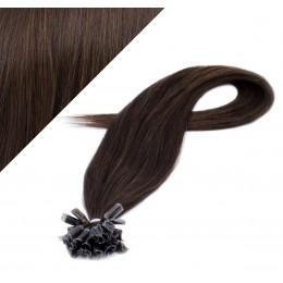 40cm vlasy na keratin - tmavě hnědá